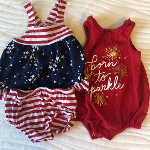 Baby girl red white and blue outfit